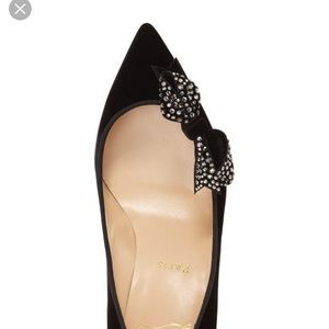 Louboutin flat patent with velvet bow